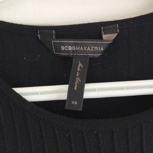 BCBGMaxAzria Dresses - EUC BCBG black ribbed knit dress
